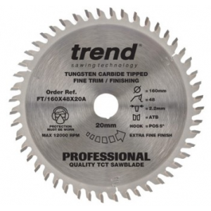 160mm Z=48 Id=20 TREND Industrial Hand Held / Portable Saw Blade To Fit Festool TSC55