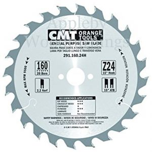 160mm Z=24 Id=20 CMT Hand Held / Portable Saw Blade To Fit Festool ATF55