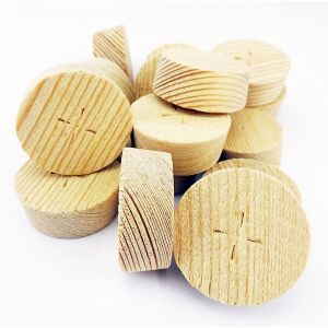 34mm Larch Tapered Wooden Plugs 100pcs supplied by Appleby Woodturnings