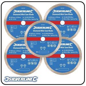 85mm Continuous Rim Diamond Mini Saw Blade to suit Silverline, Titan & Worx mini saws - 4 pack