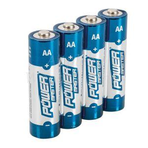 4 Pack AA 1.5V Powermaster  Premium Alkaline Batteries Industrial Strength