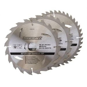 3 pack 190mm Id=16mm Silverline TCT Circular Saw Blades 260333 No Rings
