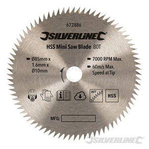 85mm Silverline HSS Mini Circular Saw Blade For Titan/Worx Saws 672886