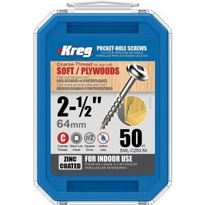 50 SCREWS 2 1/2 Inch KREG SML-C250-50-EUR Pocket Hole Washer Heads 63mm