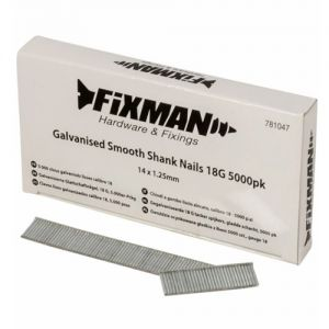 14mm x 1.25mm 18G Fixman Galvanised Smooth Shank Nails 5000pck 781047