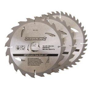 3 Pack 184mm Silverline TCT Circular Saw Blades 801292