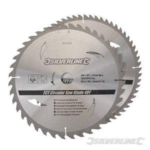 2 pack 300mm Silverline TCT Circular Saw Blades 803634