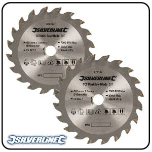 85mm TCT Circular Saw Blade, 10mm Bore, Z=20 to suit Silverline, Titan & Worx mini saws - 2 pack