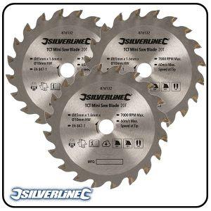 85mm TCT Circular Saw Blade to suit Silverline, Titan & Works mini saws