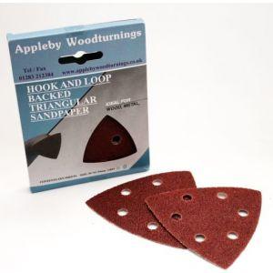 93mm Triangular Sanding Pads 'Hook & Loop' Backed - 20 pack - 120 Grit supplied by Appleby Woodturnings