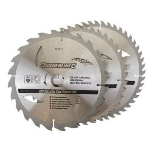 3 pack 235mm Silverline TCT Circular Saw Blades 973912