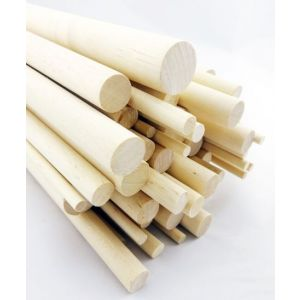 50 pcs 1 Dia Birch Hardwood Dowel Rods 12 Inches (25.4 x 300mm) Long Imperial Size