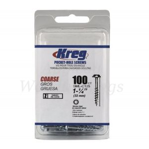 100 Kreg screws 32mm (1inch 1/4) Coarse Thread Washer Head SML-C125