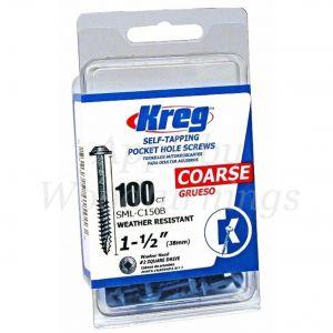 100 SCREWS 1 1/2 Inch KREG Blue Kote Washer Head SML-C150B 38mm