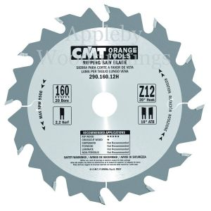 160mm Z=12 Id=20 CMT Hand Held / Portable Saw Blade To Fit Festool TS55