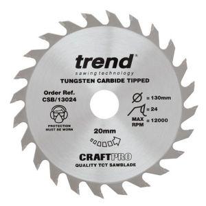 Trend 130mm dia 20mm Bore ATB Z=24 TCT Table / Rip Saw Blade CSB/13024