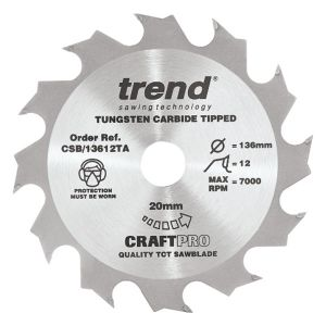 Trend 136mm dia 20mm Bore ATB Z=12 TCT Saw Blade for Portable Saws CSB/13612TA