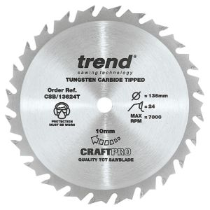 Trend 136mm dia 10mm Bore ATB Z=24 TCT Saw Blade for Portable Saws CSB/13624T