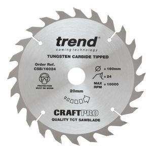 Trend 160mm dia 20mm Bore ATB Z=24 TCT Combination Cut Saw Blade CSB/16024