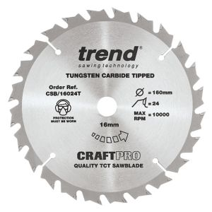 Trend 160mm dia 16mm Bore ATB Z=24 TCT Saw Blade for Portable Saws CSB/16024T