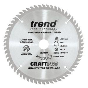 Trend 160mm dia 20mm Bore ATB Z=60 TCT Fine Finish Cut Saw Blade CSB/16060