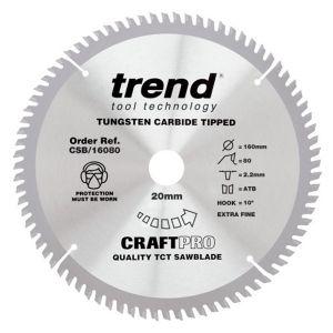 Trend 160mm dia 20mm Bore ATB Z=80 TCT Extra Fine Finish Cut Saw Blade CSB/16080