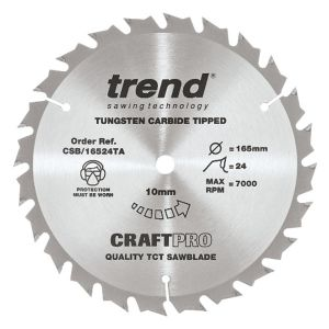 Trend 165mm dia 10mm Bore ATB Z=24 TCT Saw Blade for Portable Saws CSB/16524TA