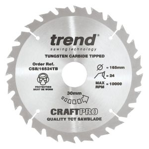 Trend 165mm dia 30mm Bore ATB Z=24 TCT Saw Blade for Portable Saws CSB/16524TB
