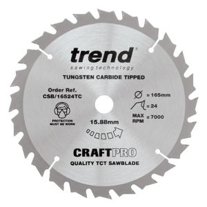 Trend 165mm dia 15.88mm Bore ATB Z=24 TCT Saw Blade for Portable Saws CSB/16524TC