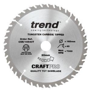 Trend 165mm dia 20mm Bore ATB Z=40 TCT Saw Blade for Portable Saws CSB/16540T