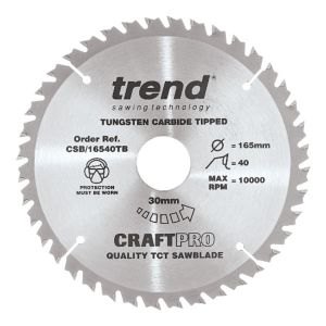 Trend 165mm dia 30mm Bore ATB Z=40 TCT Saw Blade for Portable Saws CSB/16540TB