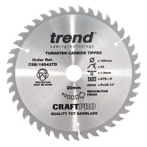 Trend 165mm dia 20mm Bore ATB Z=42 TCT Saw Blade for Portable Saws CSB/16542TD