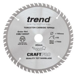 Trend 165mm dia 20mm Bore ATB Z=52 TCT Saw Blade for Portable Saws CSB/16552T
