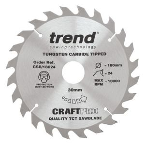 Trend 190mm dia 16mm Bore ATB Z=24 TCT Table / Rip Saw Blade CSB/19024A