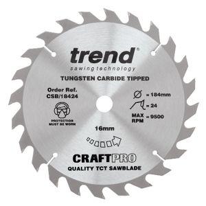 Trend 184mm dia 16mm Bore ATB Z=30 TCT Table / Rip Saw Blade CSB/18430