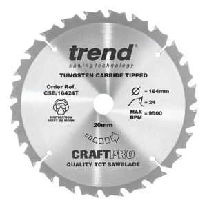 Trend 184mm dia 20mm Bore ATB Z=24 TCT Saw Blade for Portable Saws CSB/18424T