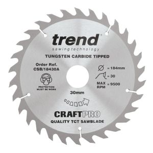 Trend 184mm dia 30mm Bore ATB Z=30 TCT Table / Rip Saw Blade CSB/18430A