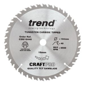 Trend 184mm dia 16mm Bore ATB Z=40 TCT Table / Rip Saw Blade CSB/18440