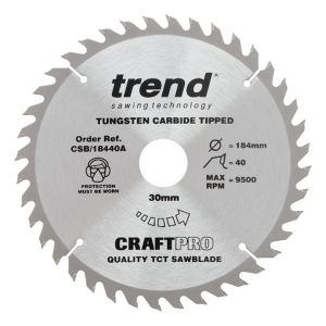 Trend 184mm dia 30mm Bore ATB Z=40 TCT Table / Rip Saw Blade CSB/18440A