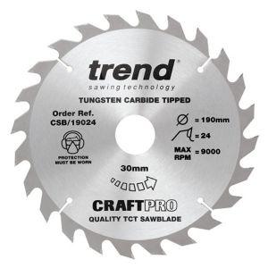 Trend 190mm dia 30mm Bore ATB Z=24 TCT Table / Rip Saw Blade CSB/19024