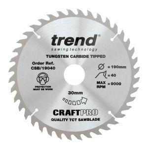Trend 190mm dia 30mm Bore ATB Z=40 TCT Table / Rip Saw Blade CSB/19040