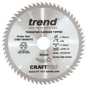 Trend 190mm dia 30mm bore ATB Z=60 TCT Saw blade CSB/19060TC