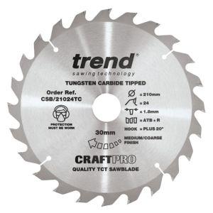 Trend 210mm dia 30mm Bore ATB Z=24 TCT Saw Blade for DeWalt DCS7485 CSB/21024TC