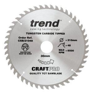 Trend 210mm dia 30mm Bore ATB Z=48 TCT Table / Rip Saw Blade CSB/21048