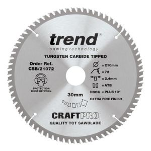 Trend 210mm dia 30mm Bore ATB Z=72 TCT Table / Rip Saw Blade CSB/21072