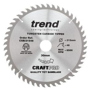 Trend 215mm dia 30mm Bore ATB Z=48 TCT Table / Rip Saw Blade CSB/21548