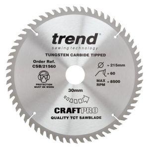 Trend 215mm dia 30mm Bore ATB Z=60 TCT Table / Rip Saw Blade CSB/21560
