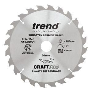 Trend 230mm dia 30mm Bore ATB Z=24 TCT Table / Rip Saw Blade CSB/23024