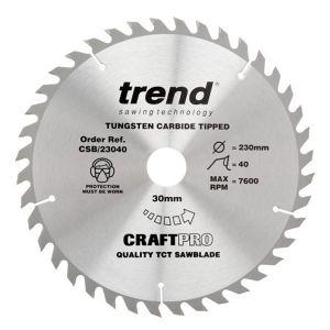 Trend 230mm dia 30mm Bore ATB Z=40 TCT Table / Rip Saw Blade CSB/23040