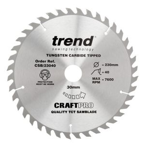 Trend 190mm dia 16mm Bore ATB Z=40 TCT Table / Rip Saw Blade CSB/19040A